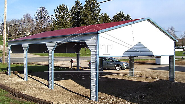 18x30x7 Aframe Side Entry Carport