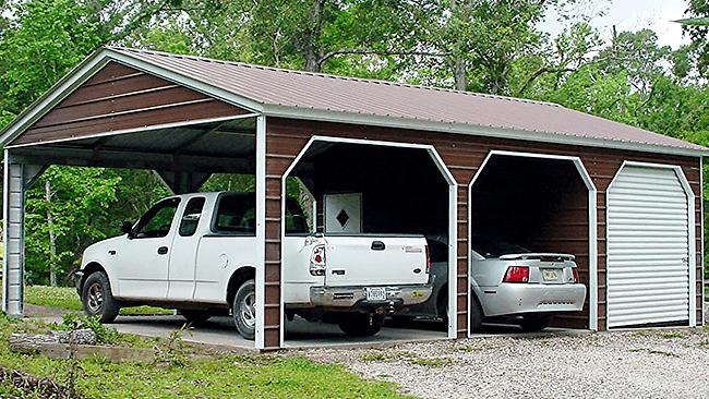 Double Carport with Utility Storage